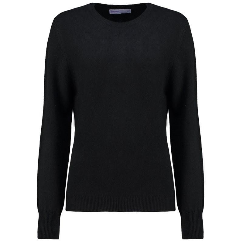 レディースラウンドネックラムウールセーター in Black