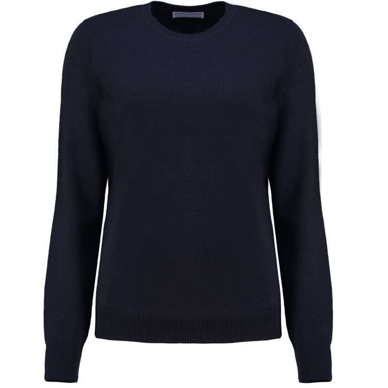 Women's Round Neck Lambswool Sweater in Navy Blue