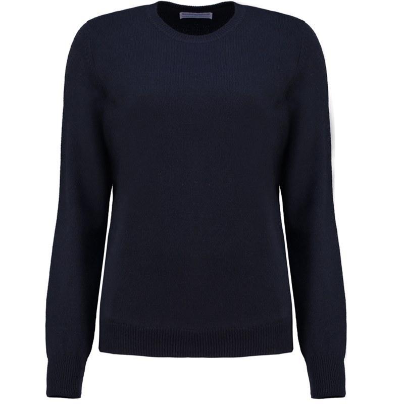 レディースラウンドネックラムウールセーター in Navy Blue