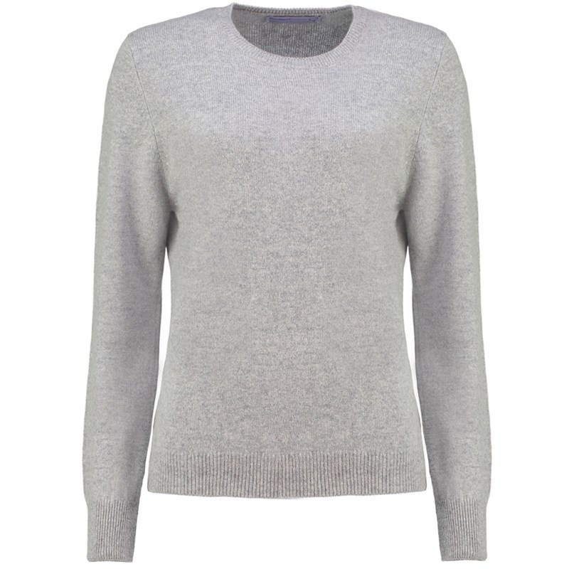 Women's Round Neck Lambswool Sweater in Silver