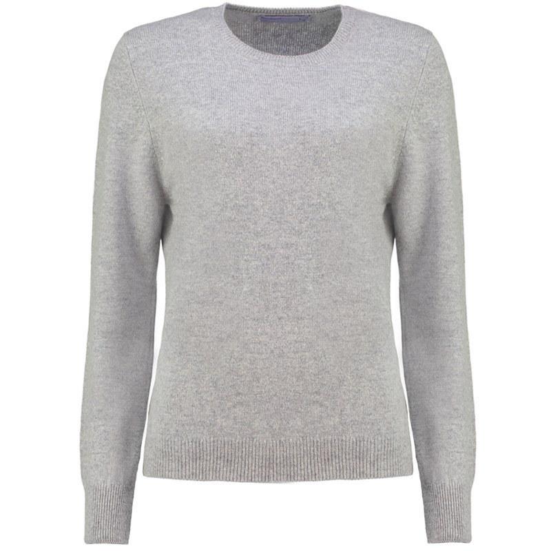 レディースラウンドネックラムウールセーター in Silver