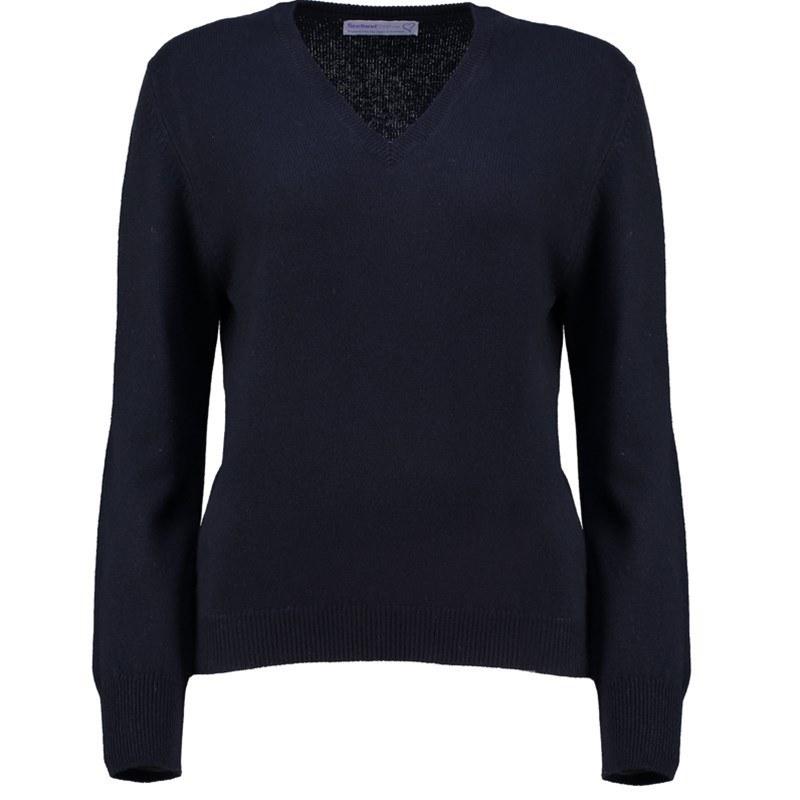 レディースVネックラムウールセーター in Navy Blue