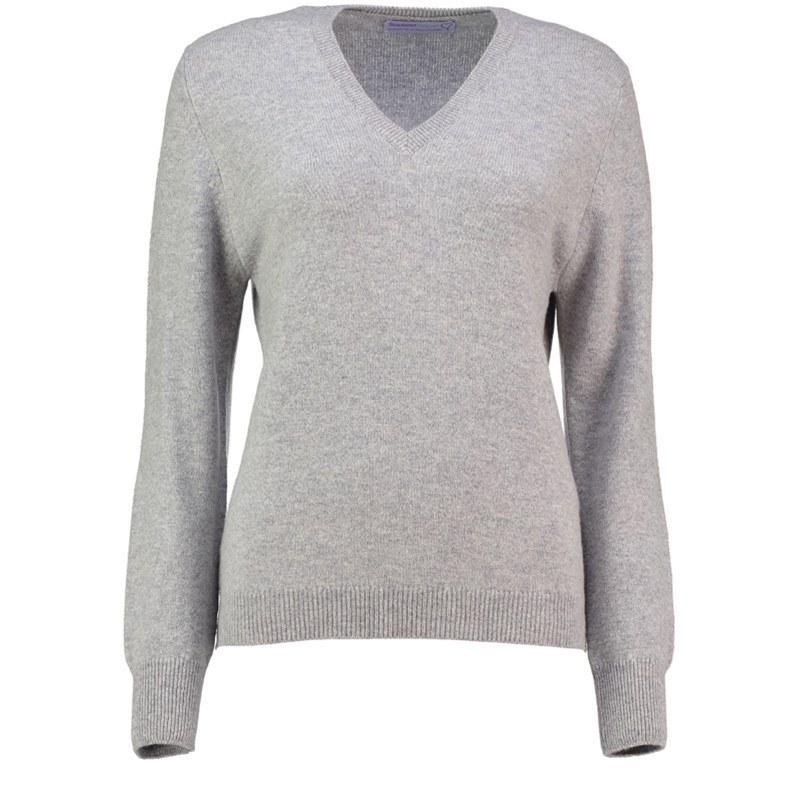 レディースVネックラムウールセーター in Silver