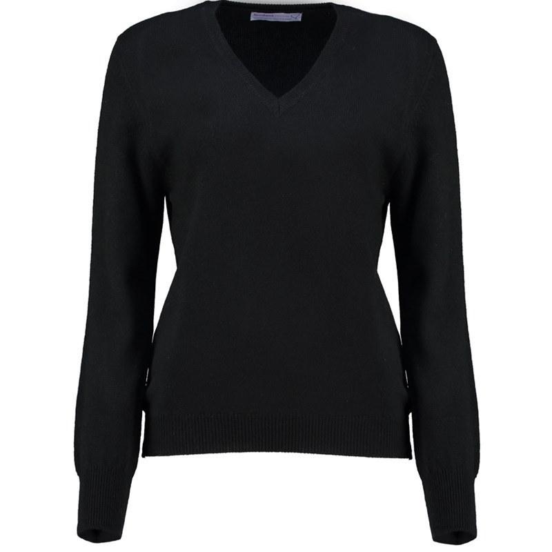 レディースVネックラムウールセーター in Black