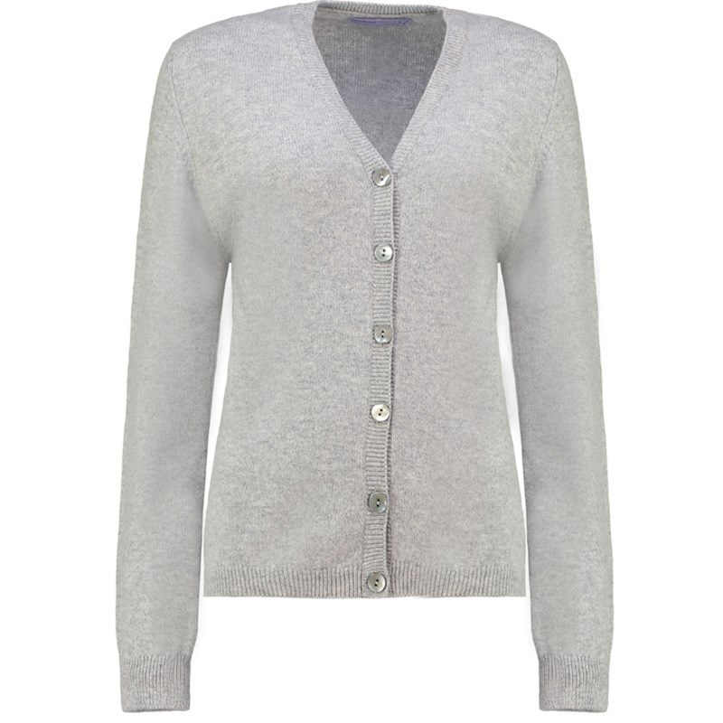 Women's V Neck Lambswool Cardigan in Silver