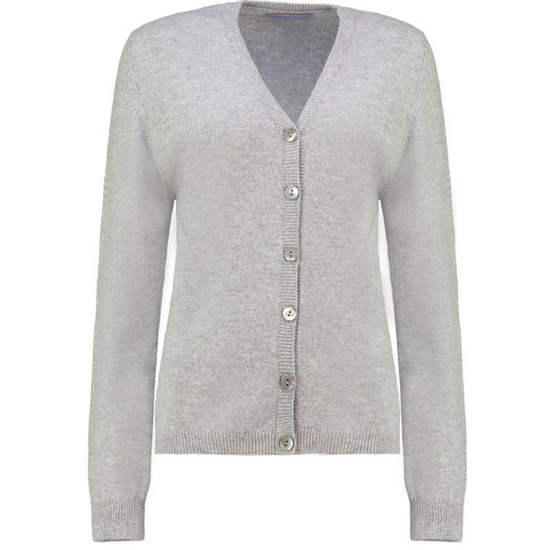 Strickjacke aus Lammwolle für Damen in Silver