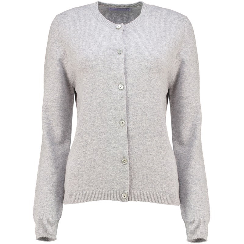 Women's Round Neck Lambswool Cardigan in Silver