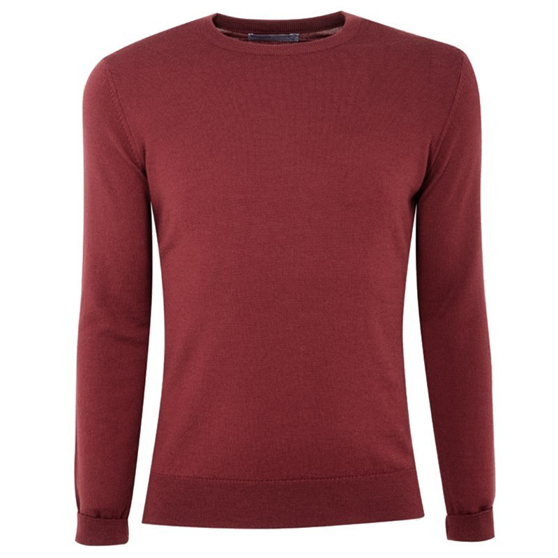Pull ras du cou homme pure laine merino in Winterberry