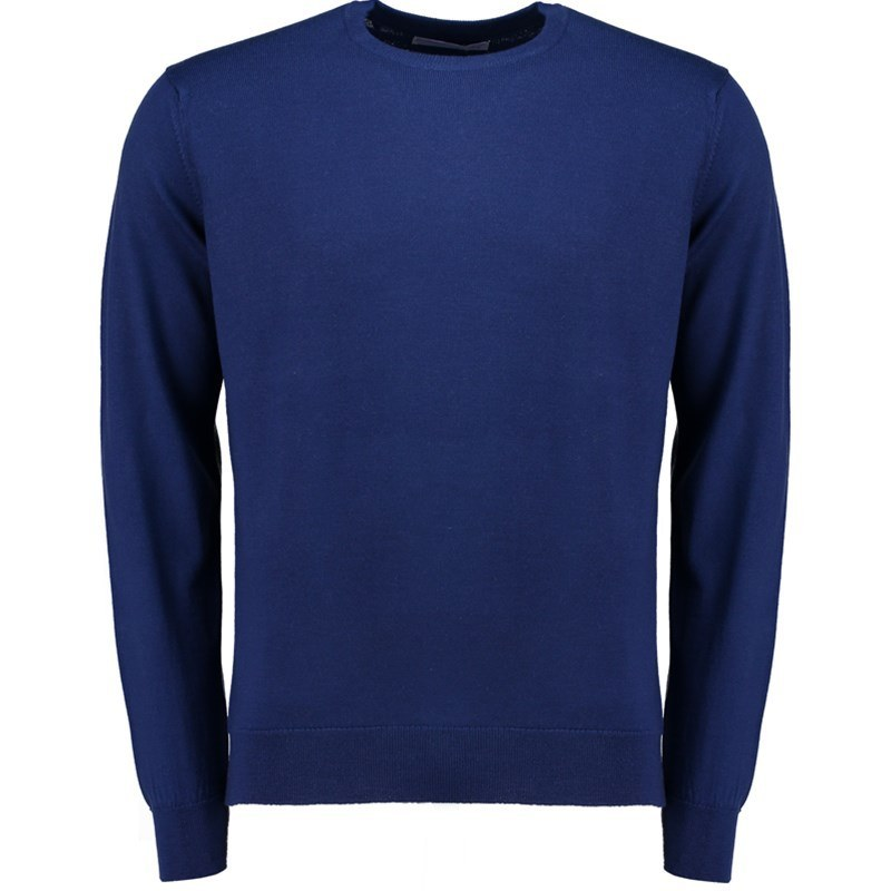 Pull ras du cou homme pure laine merino in French Navy