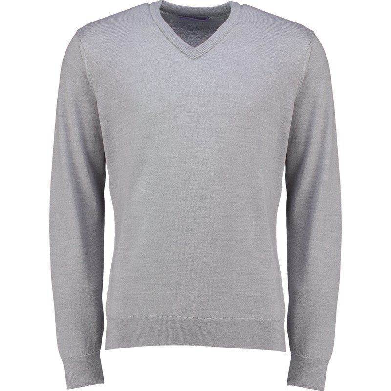Pull col en V homme pure laine merino in Grey Marl
