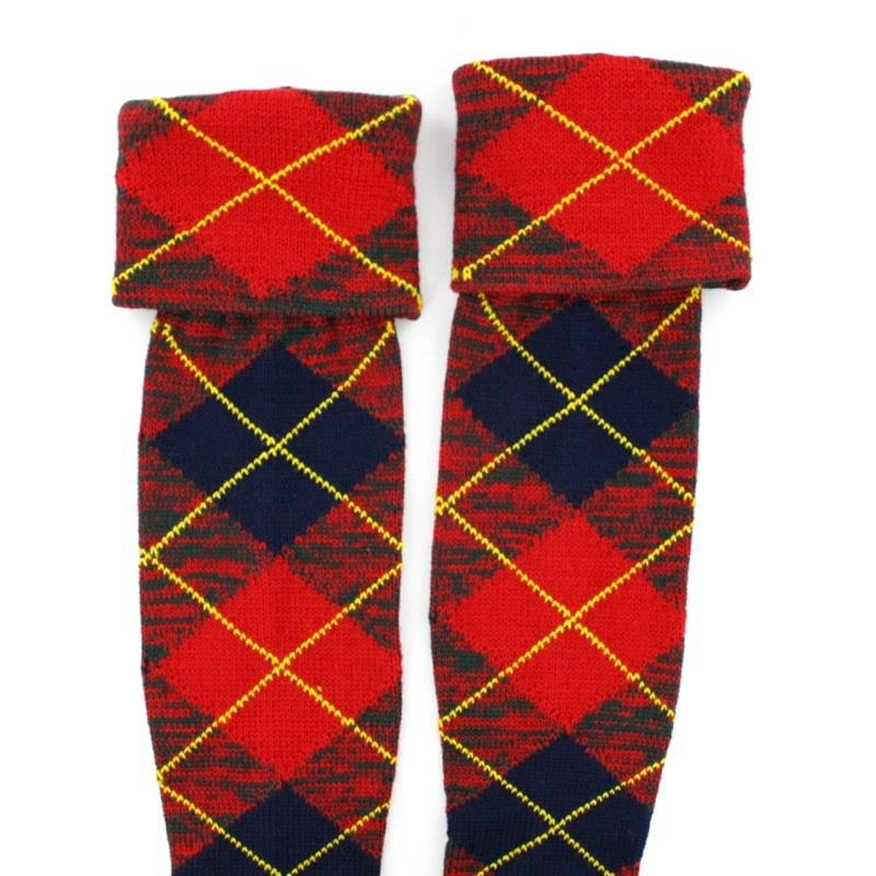 Tartan Kilt Socks/Hose (Sale) in Cranford Red PolyViscose BA179T