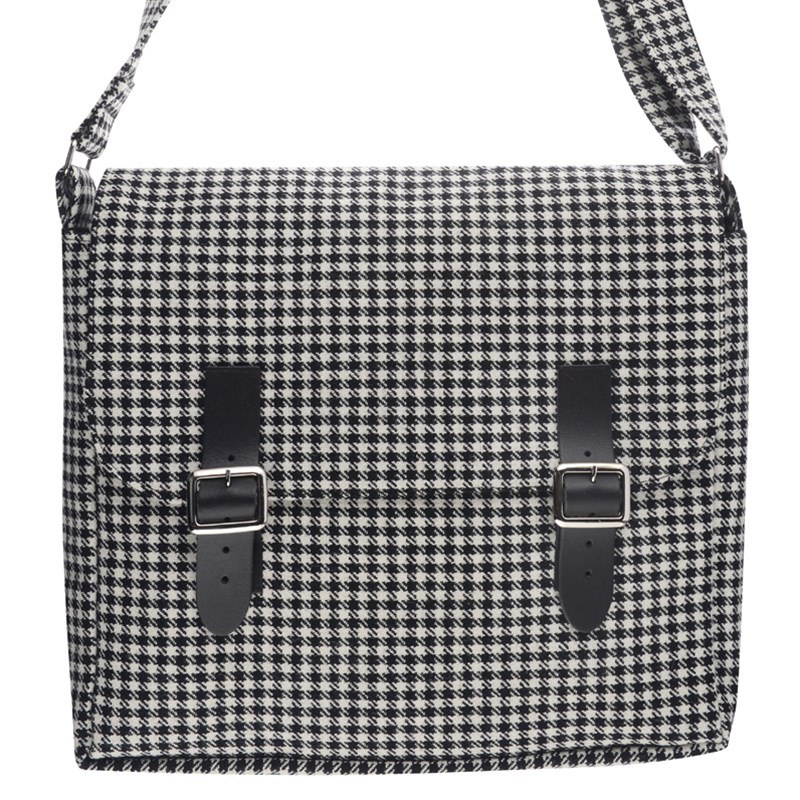 Sac Messenger en Tweed Ecossais in Kirkton Black and White Tweed Check 578