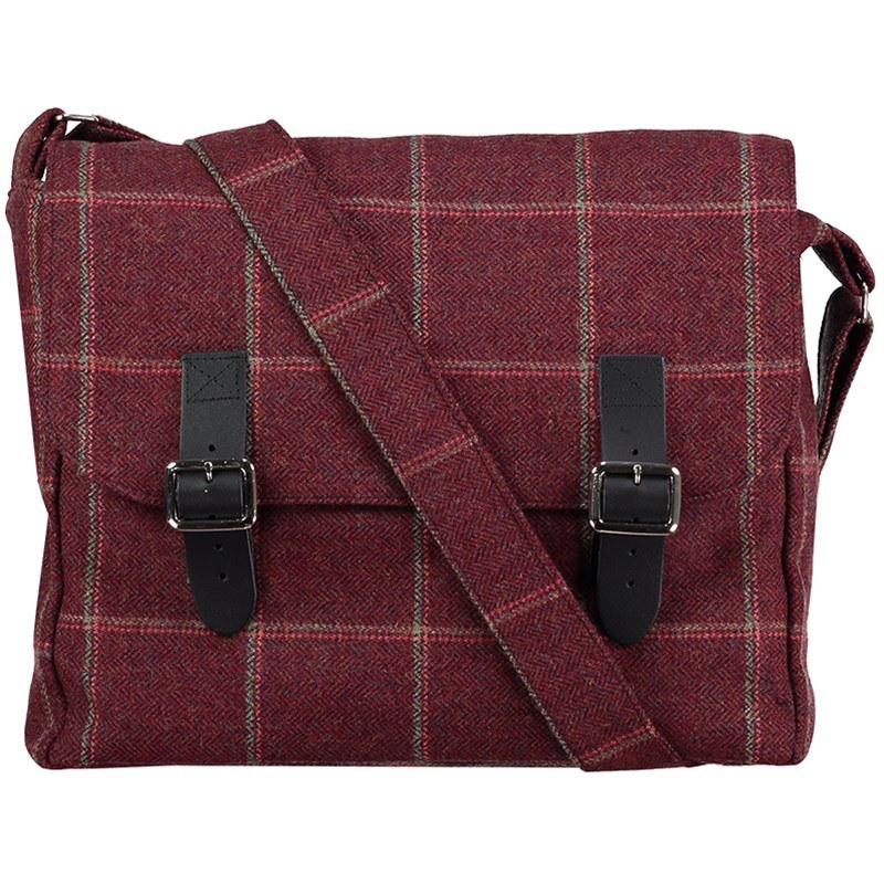 Sac Messenger en Tweed Ecossais in Cheviot Pheasant Agate Lovat Flame (CHE168)