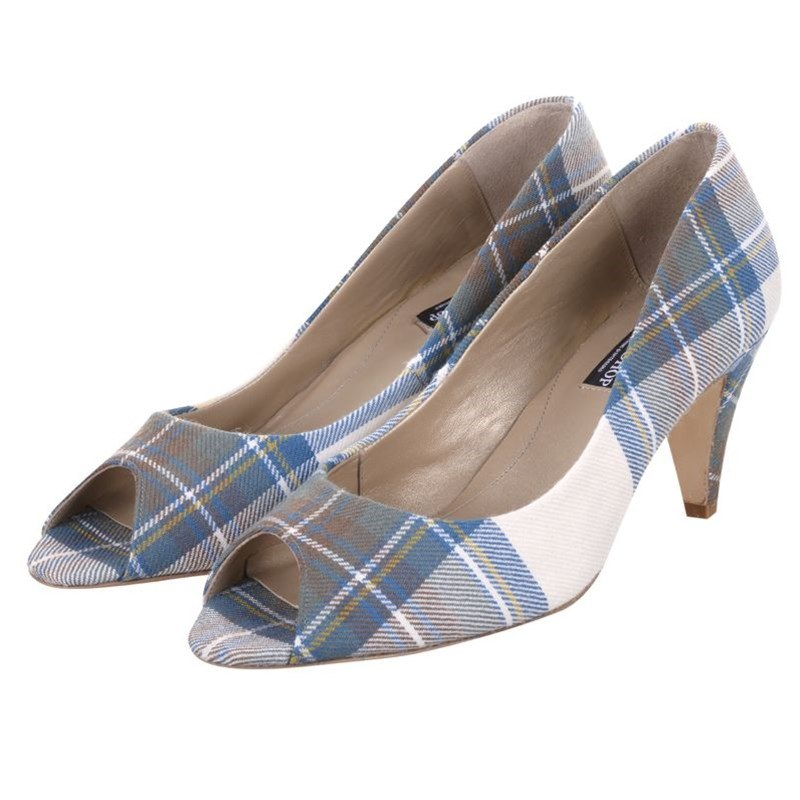 Zapatos de tacón peep toe en tartan in Stewart Blue Dress