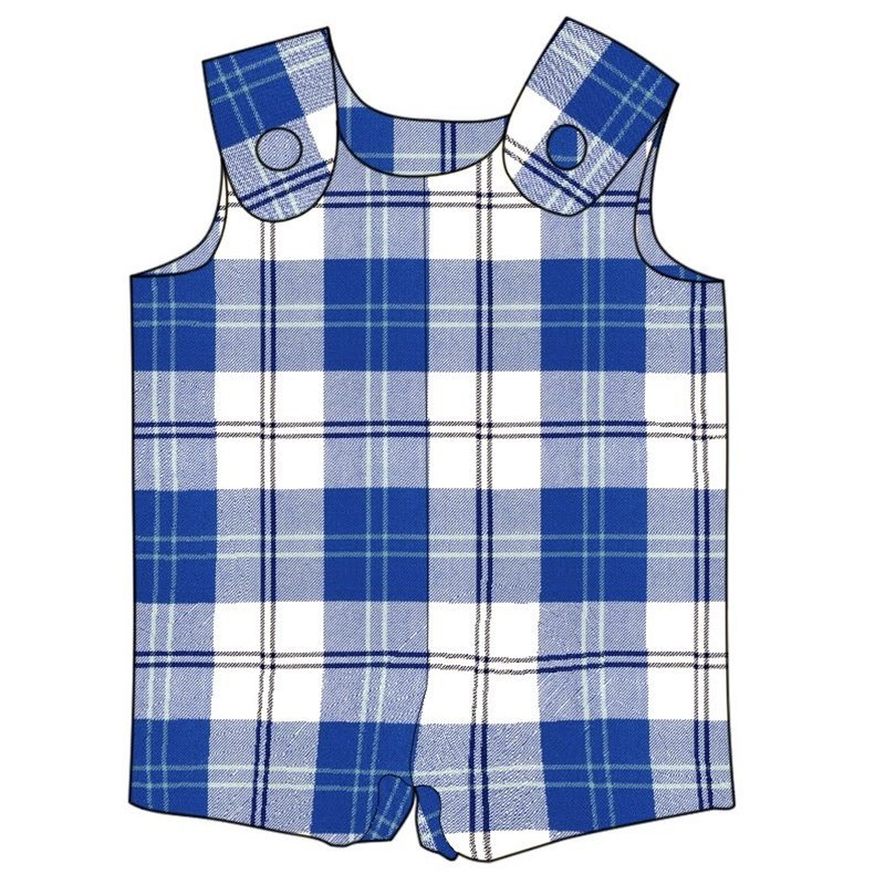 Tartan Romper Suit in Ailsa Royal Blue BCH061