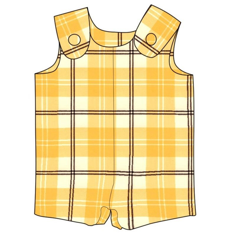 Tartan Romper Suit in Ailsa Yellow BCH055