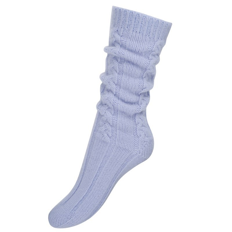 Women's Cable Knit Cashmere Bed Socks in Sky Blue