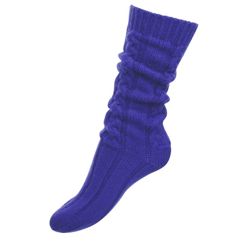 Women's Cable Knit Cashmere Bed Socks in African Violet