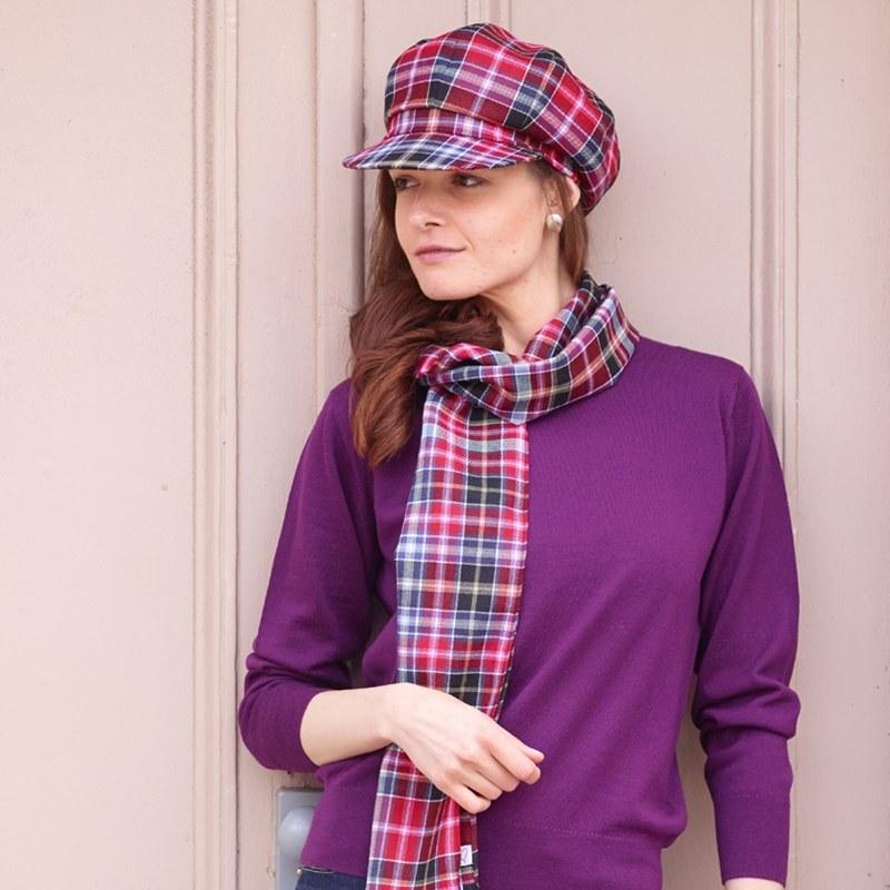 Casquette femme ecossaise