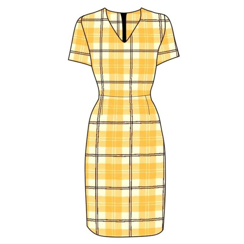Tailliertes Schottenstoffkleid in Ailsa Yellow BCH055