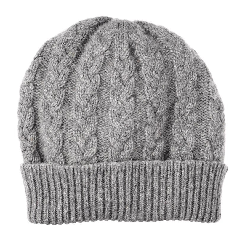 Cable Knit Cashmere Beanie in Flannel Grey