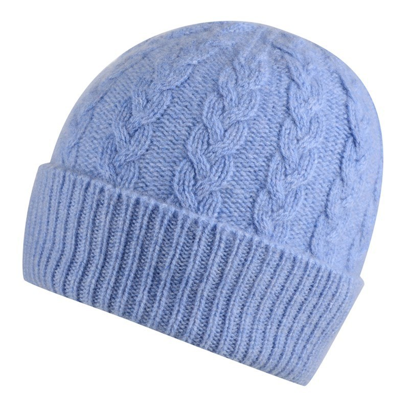 Cable Knit Cashmere Beanie in Light Blue