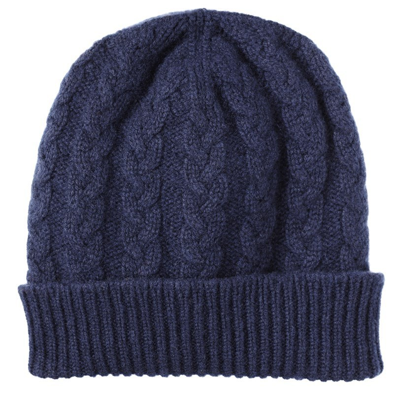 Cable Knit Cashmere Beanie in Navy Blue