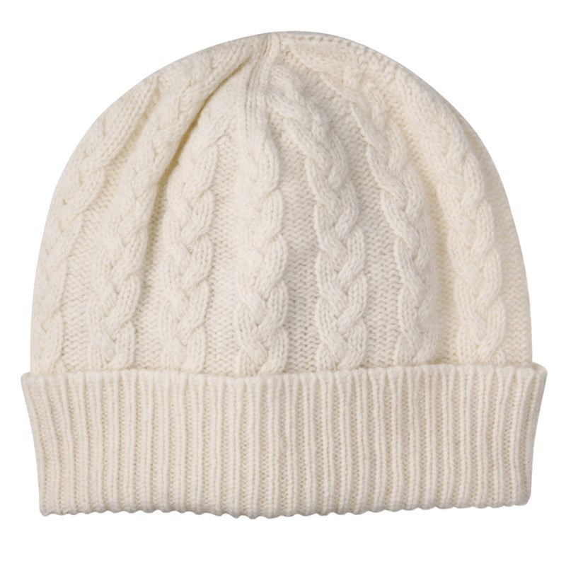 Cable Knit Cashmere Beanie in White