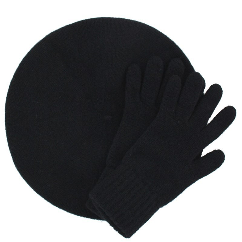 Women's Cashmere Beret and Gloves Set in Black