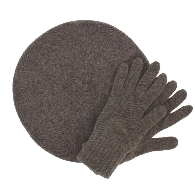 Women's Cashmere Beret and Gloves Set in Otter Brown