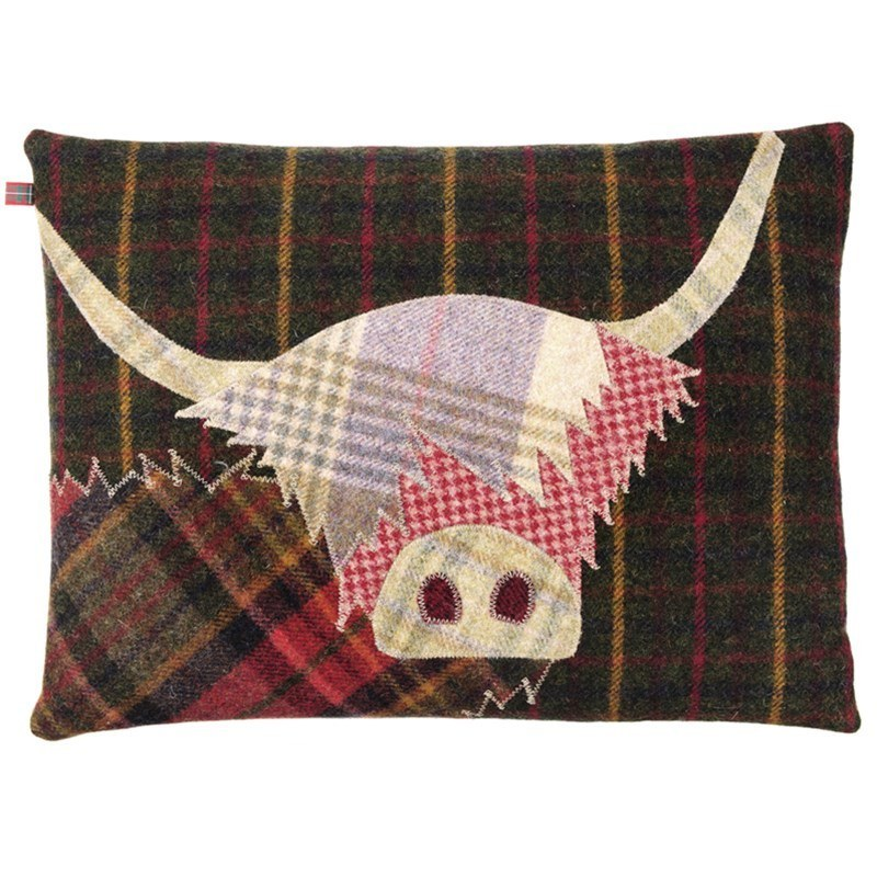 Highland Cow Pillow in Green Base