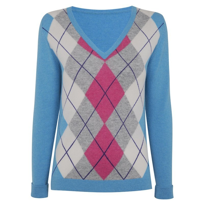 Women's Argyle Cashmere Sweater in Turquoise Argyle