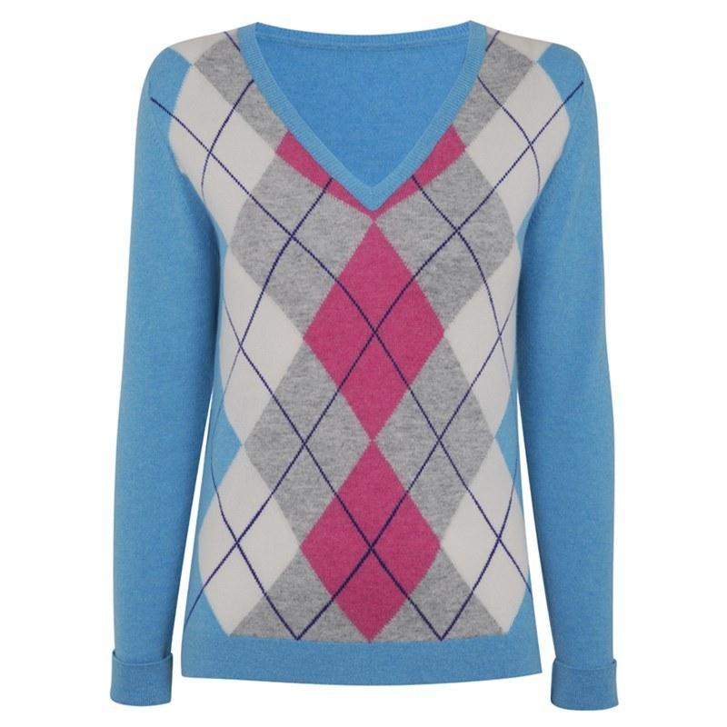 レディースアーガイルカシミヤセーター in Turquoise Argyle