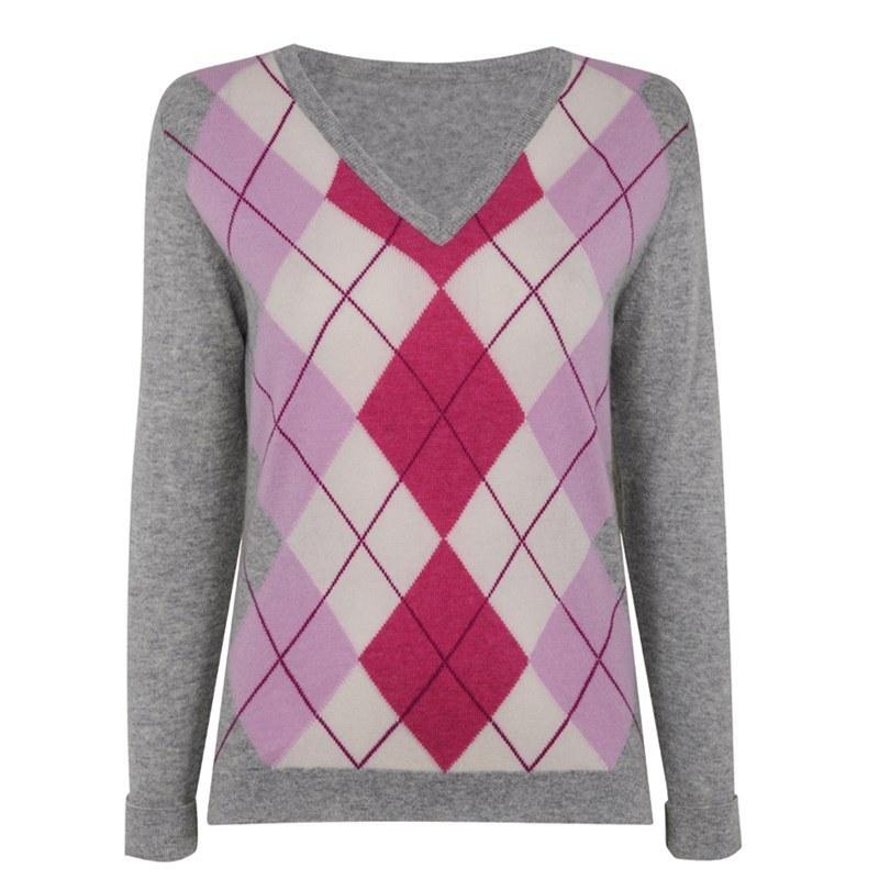 レディースアーガイルカシミヤセーター in Grey Argyle