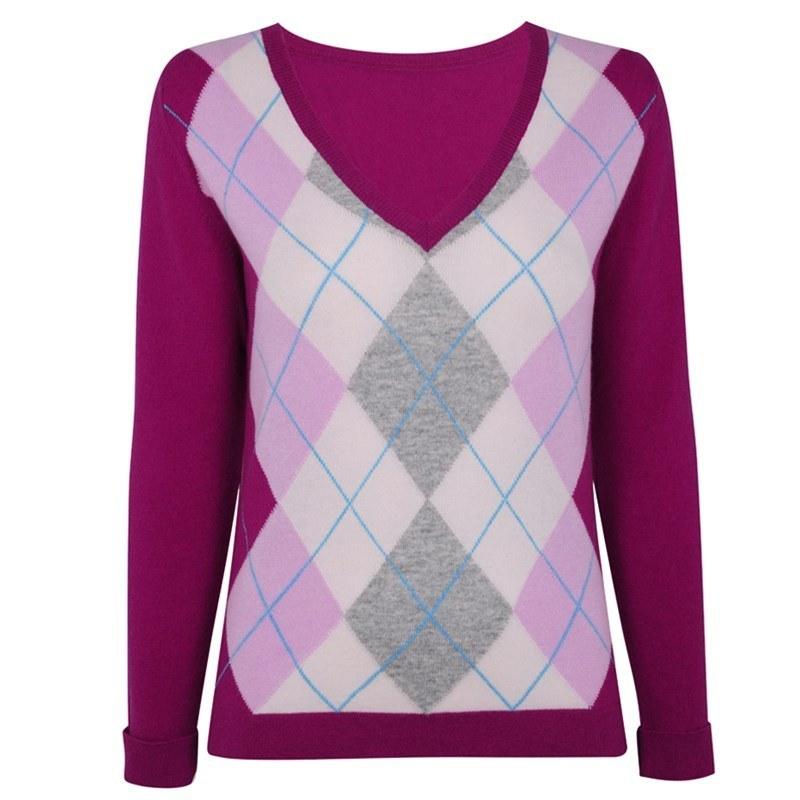 レディースアーガイルカシミヤセーター in Pink Argyle