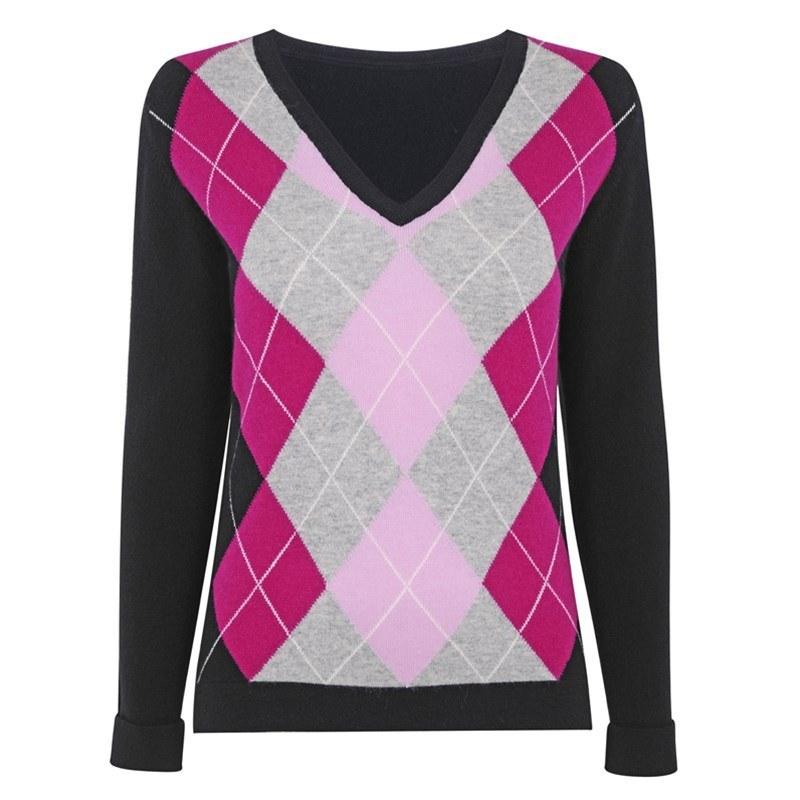 レディースアーガイルカシミヤセーター in Black Argyle