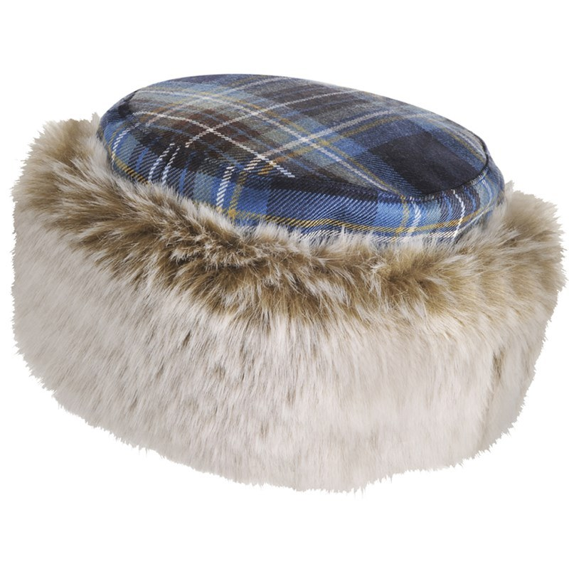 Tartan and Faux Fur Hat in Holyrood