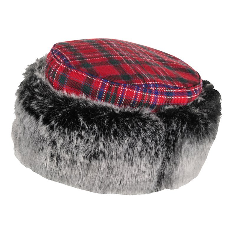 Tartan and Faux Fur Hat in MacAlister Modern