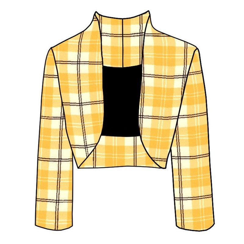 Plaid Bolero Jacket in Ailsa Yellow BCH055