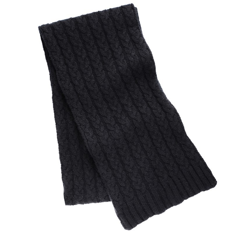 Cable Knit Cashmere Scarf in Black