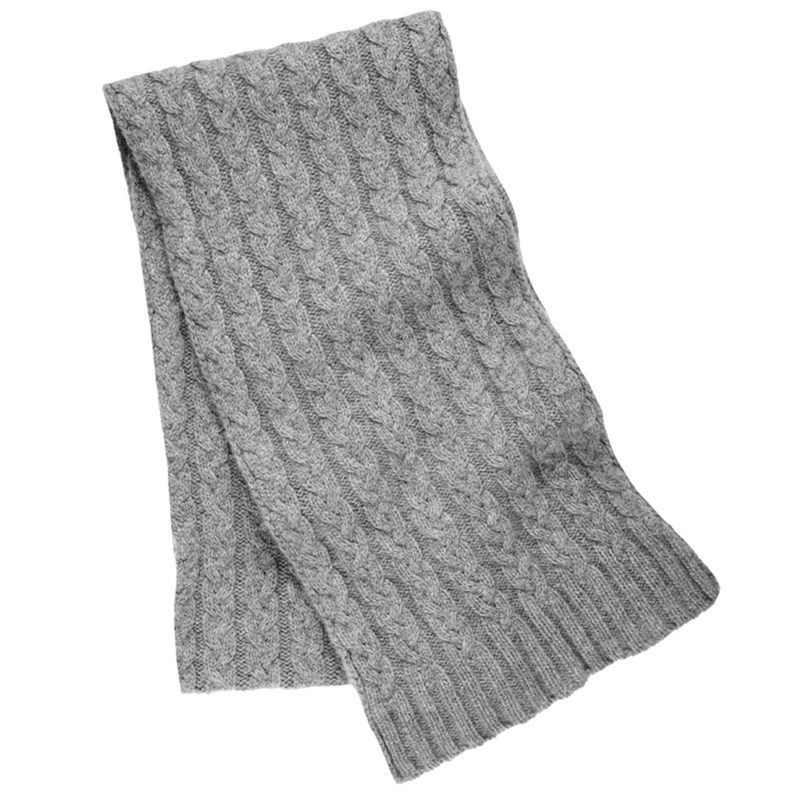 Cable Knit Cashmere Scarf in Flannel Grey