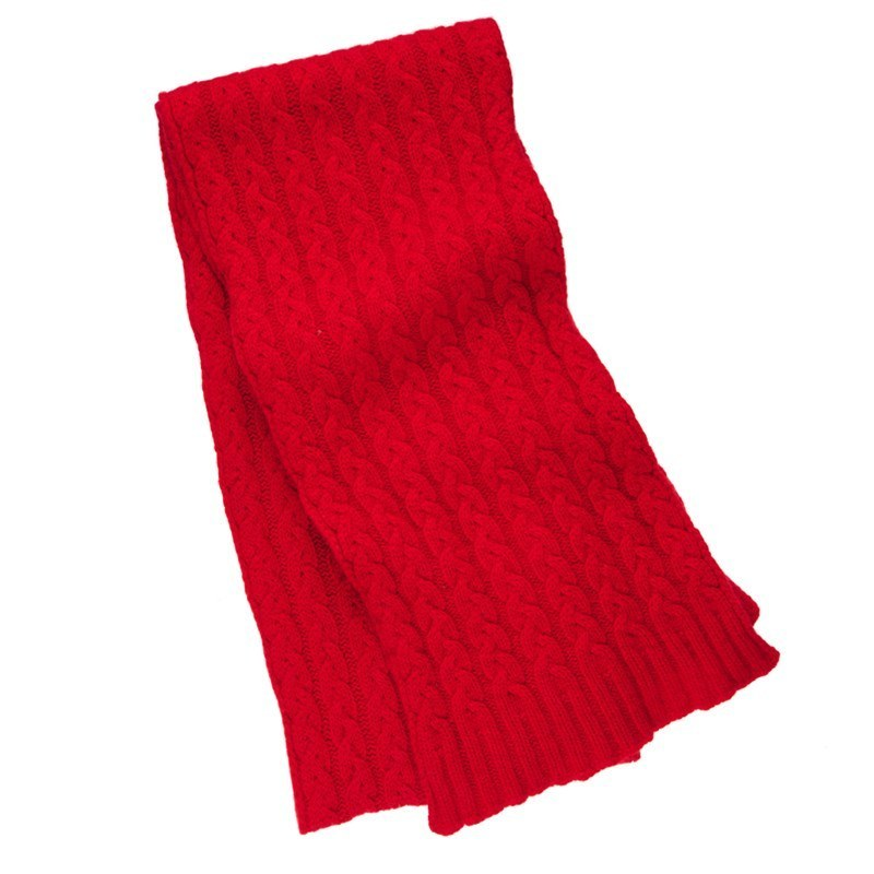 Cable Knit Cashmere Scarf in Red