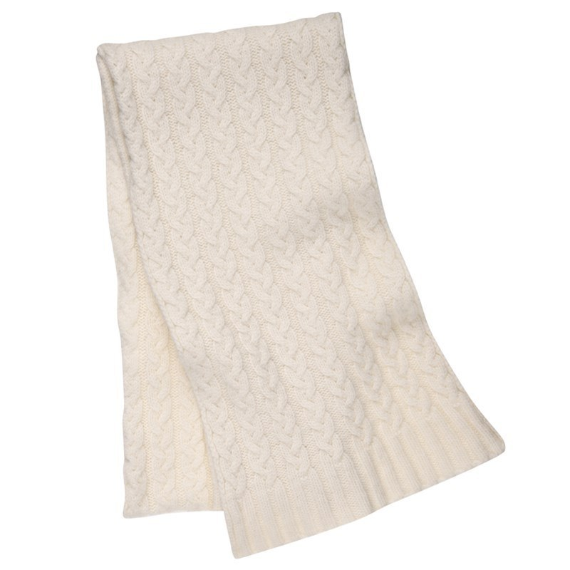 Cable Knit Cashmere Scarf in White