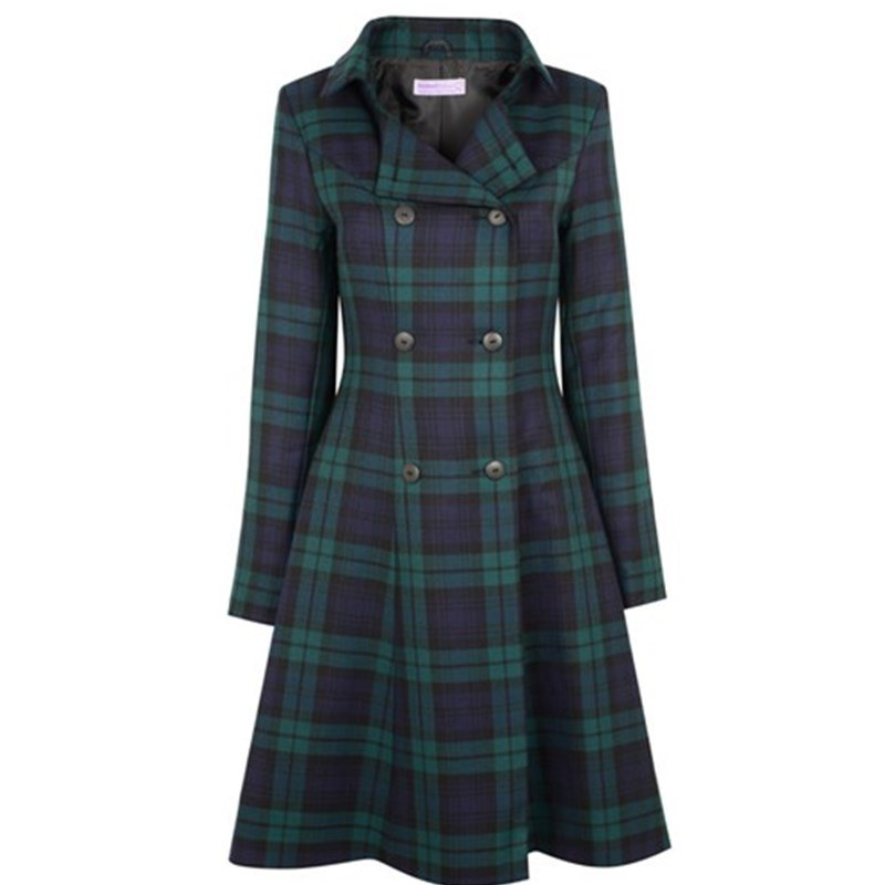 The Kate Coat in Plaid in Black Watch Modern