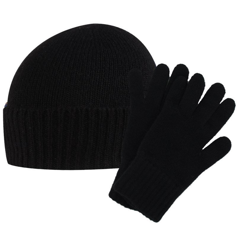 Men's Cashmere Hat and Gloves Set in Black