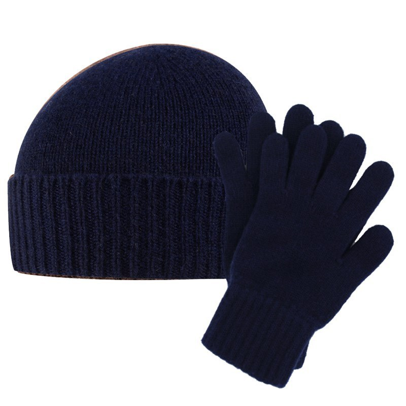 Men's Cashmere Hat and Gloves Set in Navy Blue