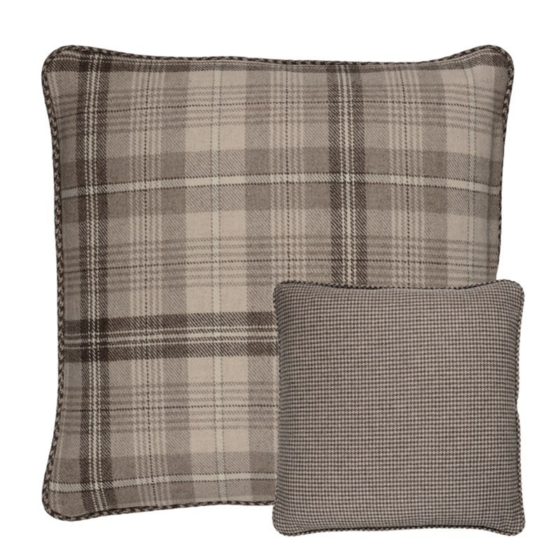 Craigie Hill and Sloane Square Reversible Tweed Pillow Covers in Craigie Stone Plaid (CRG305)