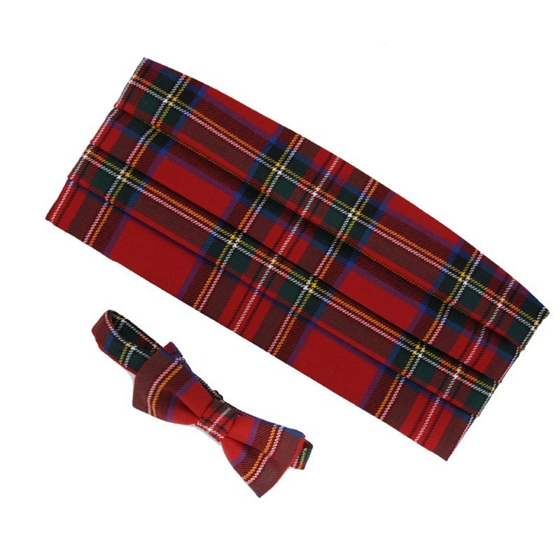 Wool Tartan Bow Tie & Cummerbund Set in Stewart Royal