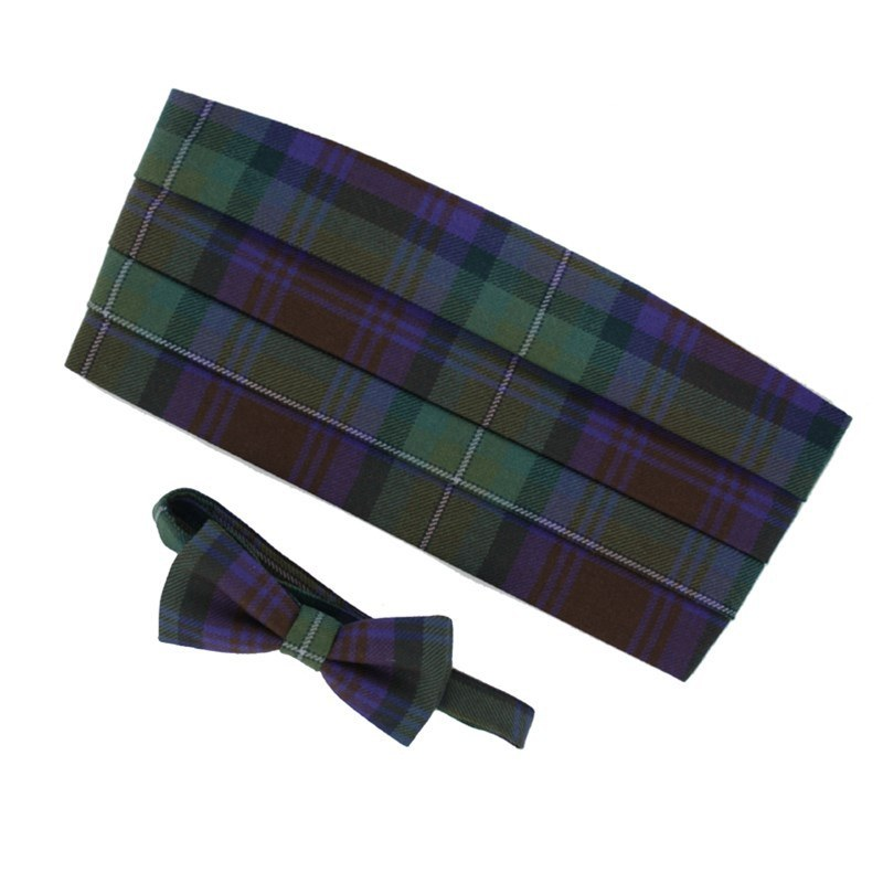Wool Tartan Bow Tie & Cummerbund Set in Isle Of Skye
