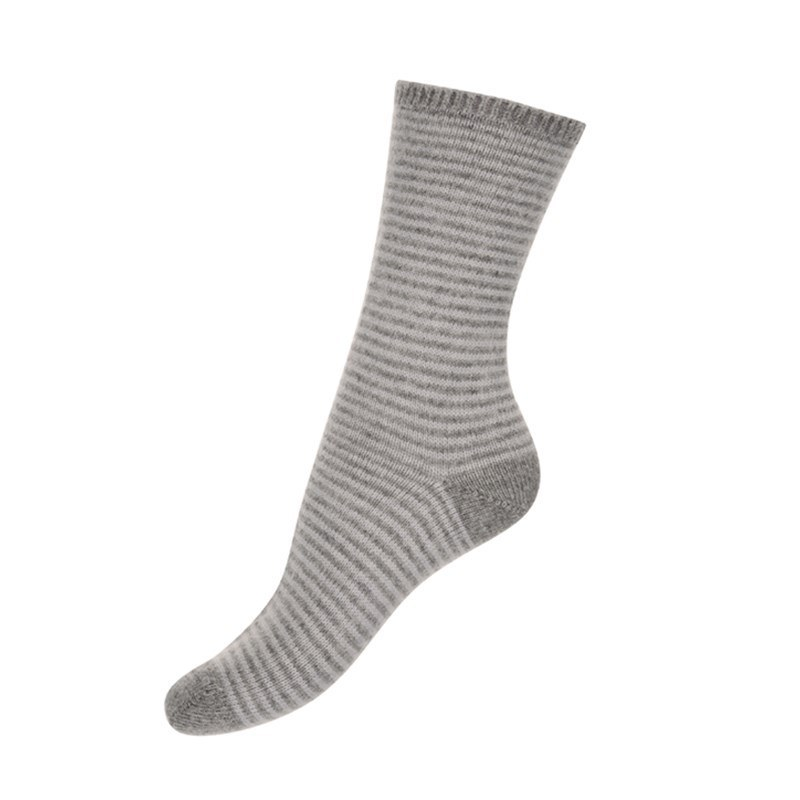 Women's Fine Stripe Cashmere Socks in Light Grey/Platinum